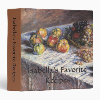 Still Life with Apples and Grapes by Claude Monet Vinyl Binder