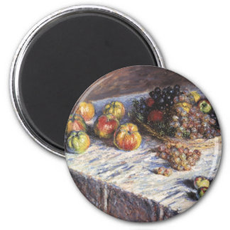 Still Life with Apples and Grapes by Claude Monet 2 Inch Round Magnet
