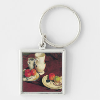 Still Life with Apples Silver-Colored Square Keychain
