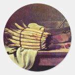 Still Life With Asparagus By Bonvin François Round Sticker