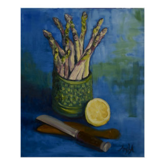 Still LIfe with Asparagus & Lemon Poster