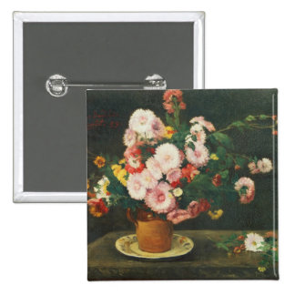 Still life with asters 2 inch square button