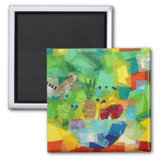 Still Life with Baby Lemur 2 Inch Square Magnet