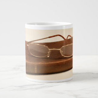 Still life with bible and reading glasses giant coffee mug