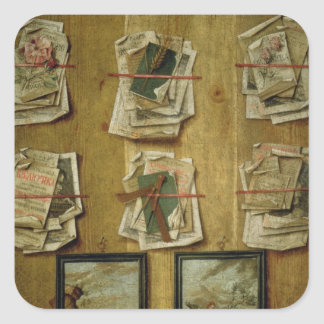 Still Life with Book Sheets and Pictures, 1783 Square Sticker