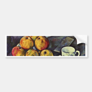 Still Life With Bottle And Apple Basket By Paul Cé Car Bumper Sticker