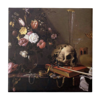 Still Life with Bouquet and Skull Ceramic Tile