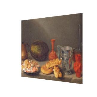 Still life with bread, 1648 canvas print