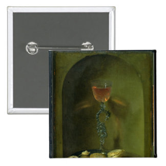 Still Life with Bread and Wine Glass Button