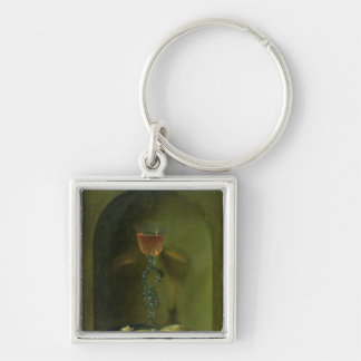 Still Life with Bread and Wine Glass Silver-Colored Square Keychain