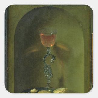 Still Life with Bread and Wine Glass Square Sticker