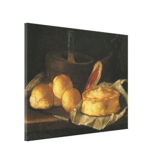 Still Life with Bread Tart and Ham, Giuseppe Recco Canvas Print
