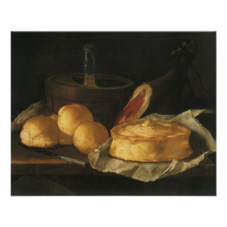 Still Life with Bread Tart and Ham, Giuseppe Recco Posters