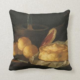 Still Life with Bread Tart and Ham, Giuseppe Recco Throw Pillows