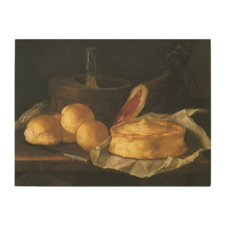 Still Life with Bread Tart and Ham, Giuseppe Recco Wood Wall Decor