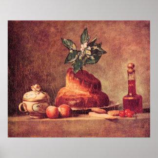 Still Life with Brioche by Jean Chardin Print