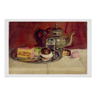 Still Life with Cakes and a Silver Teapot (oil on Posters