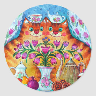 Still life with cats classic round sticker