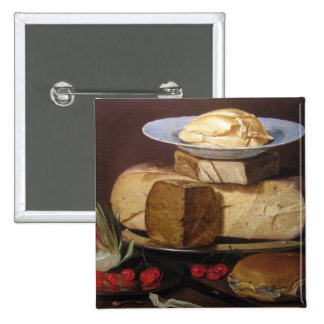 Still Life with Cheeses Artichoke - Clara Peeters Pinback Buttons