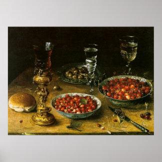 Still-Life with Cherries Strawberries Print