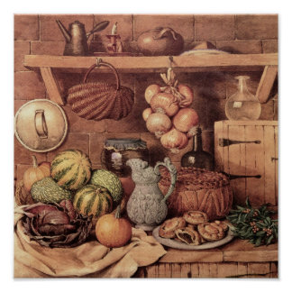 Still life with Christmas Food Poster