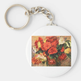 Still Life with Chrysanthemums Basic Round Button Keychain