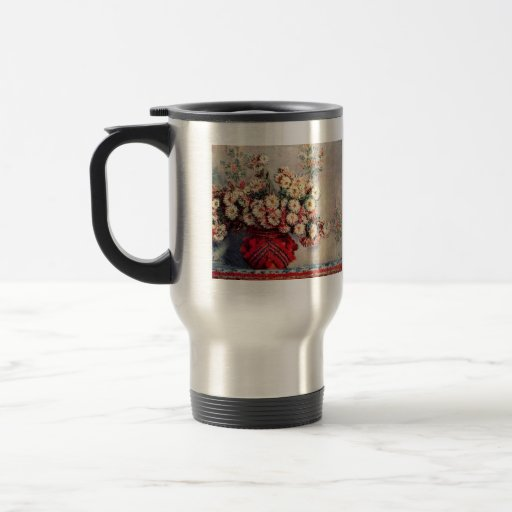 Still Life with Chrysanthemums by Claude Monet 15 Oz Stainless Steel Travel Mug