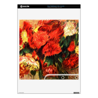Still life with Chrysanthemums by Pierre Renoir PS3 Slim Decals