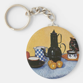 Still Life with Coffee Pot by Vincent Van Gogh Basic Round Button Keychain