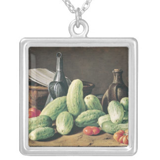 Still Life with Cucumbers and Tomatoes Silver Plated Necklace