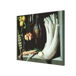 Still life with dead birds, fruit and canvas print