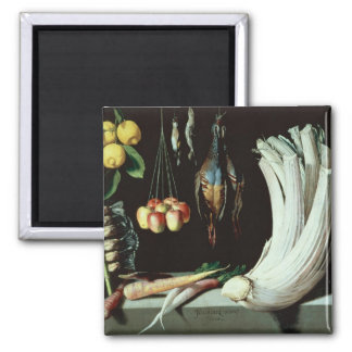 Still life with dead birds, fruit and magnet