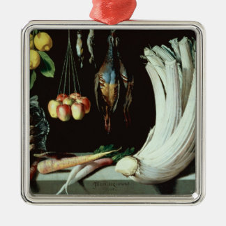 Still life with dead birds, fruit and metal ornament
