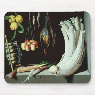 Still life with dead birds, fruit and mouse pad
