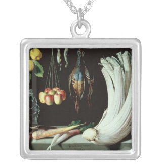 Still life with dead birds, fruit and silver plated necklace