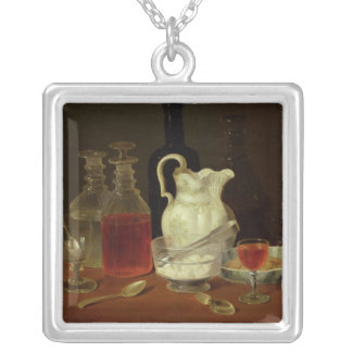 Still Life with Decanters Square Pendant Necklace