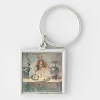 Still life with eggs and thrushes keychain