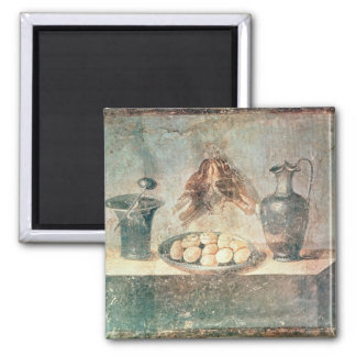 Still life with eggs and thrushes 2 inch square magnet