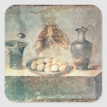 Still life with eggs and thrushes square sticker