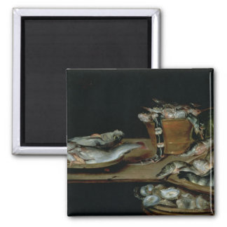 Still Life with Fish 2 Inch Square Magnet