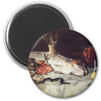Still Life with Fish - Edouard Manet 2 Inch Round Magnet