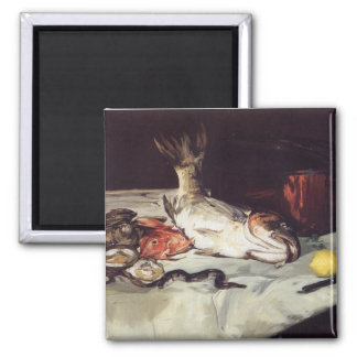 Still Life with Fish - Edouard Manet 2 Inch Square Magnet