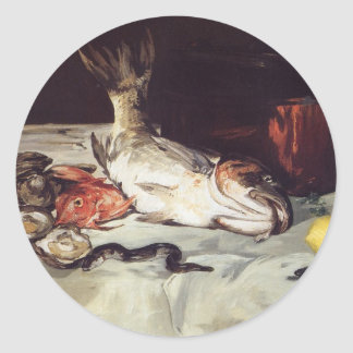 Still Life with Fish - Edouard Manet Classic Round Sticker