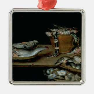 Still Life with Fish Square Metal Christmas Ornament
