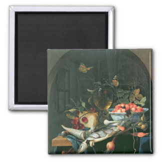 Still Life with Fish Platter 2 Inch Square Magnet