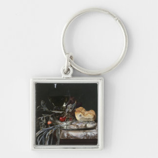 Still Life with Fish Platter Silver-Colored Square Keychain