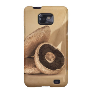 Still life with flat mushrooms and dramatic galaxy SII case