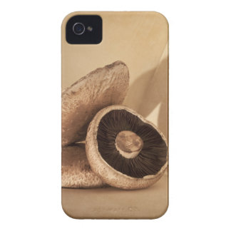 Still life with flat mushrooms and dramatic iPhone 4 case