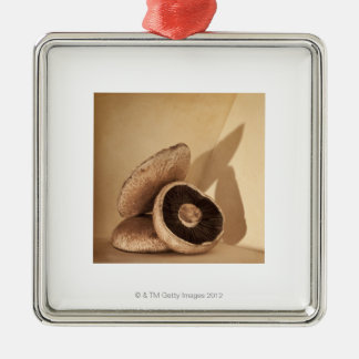 Still life with flat mushrooms and dramatic ornament