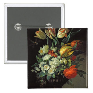 Still Life with Flowers, 1764 2 Inch Square Button